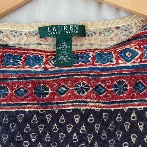 Lauren Ralph Lauren Navy and Red Sweater